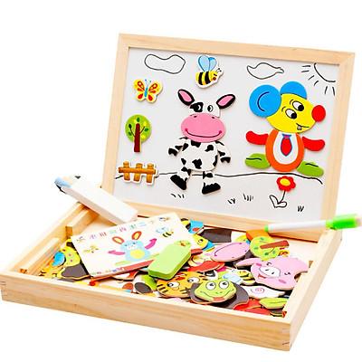 Đồ chơi gỗ ghép hình con vật trên bảng từ thông minh cho bé tập sáng tạo