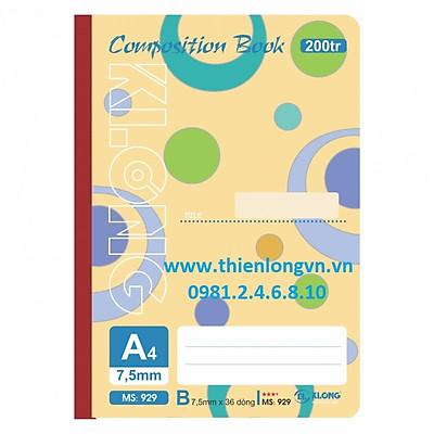 Sổ may dán gáy A4 - 200 trang; Klong 929 bìa vàng