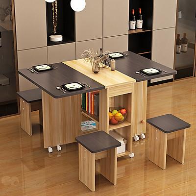 Bộ bàn ăn hình vuông bằng gỗ MDF chất lượng cao kèm 4 ghế - có thể gấp gọn và có bánh xe.