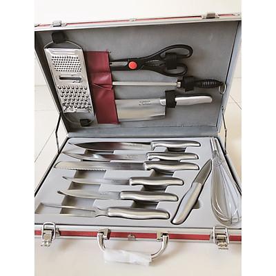Bộ dao 13 món cao cấp ( dùng cắt thịt, cá, bánh mì, trái cây ...,kéo, đồ đánh trứng và dao bào) làm bằng chất liệu thép không gỉ - đựng trong vali sang trọng