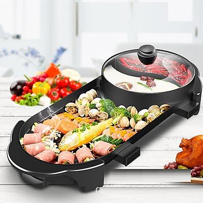 Bếp lẩu nướng không khói - nồi lẩu nướng điện 2 ngăn công nghệ hàn quốc