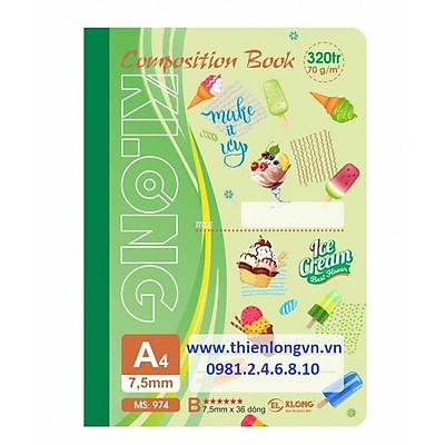 Sổ may dán gáy A4 - 320 trang; Klong 974 xanh lá
