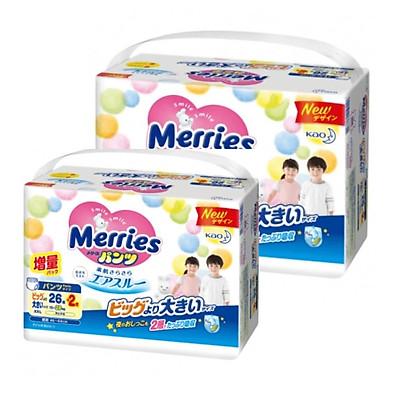 [Combo 2] Bỉm - Tã quần Merries cộng miếng size XXL 26+2 miếng (Cho bé 15~28kg)