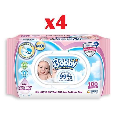 Combo 4 gói khăn ướt Bobby Care có hương 100 tờ