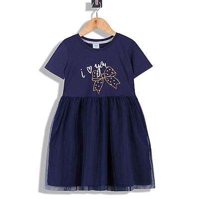 Váy Đầm Công Chúa Bé Gái Tay ngắn Tùng Xòe Nhún 2 lớp Vole  In Nơ Kim Tuyến , 14-38 kg - MEEJENA -1911