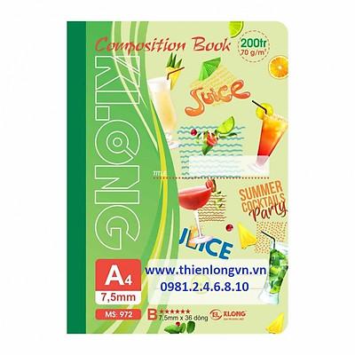 Sổ may dán gáy A4 - 200 trang; Klong 972 xanh lá
