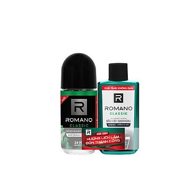 Lăn khử mùi Romano Classic cổ điển lịch lãm kháng khuẩn & khô thoáng cả ngày 50ml- Tặng dầu gội sạch gàu Romano Classic 60gr
