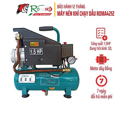 Máy Nén Khí Có Dầu Romano ROMA-4212, Máy chạy dầu, Bình 12L, Công suất 1.5HP