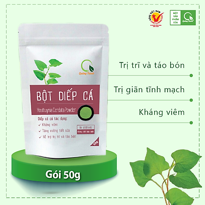 Bột diếp cá sấy lạnh Quảng Thanh - Bịch 50gr, thanh nhiệt giải độc kháng viêm, khắc tinh của trĩ và táo bón
