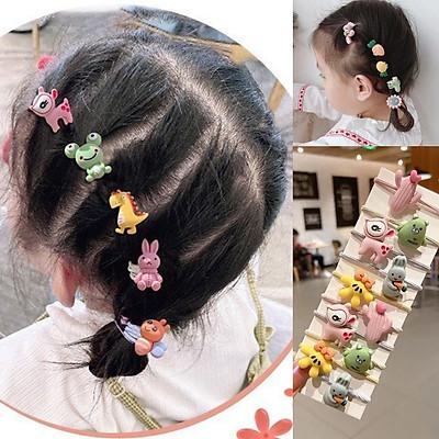Set 10 dây buộc tóc, thun cột tóc cho bé gái hình con vật hoa quả sắc màu tươi sáng SC26