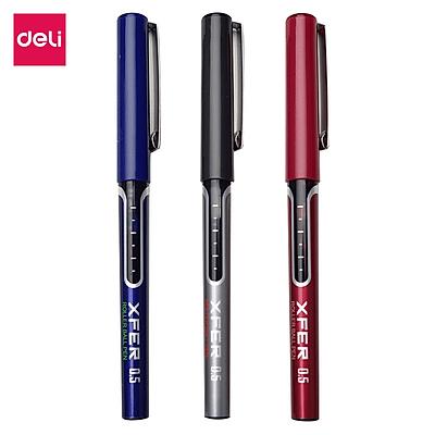 Một hộp Bút bi nước khô nhanh siêu mượt Deli - 0.5mm - Bút kí - Ống bút liền mực - Nhiều màu mực  - S657