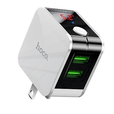 Củ sạc Hoco HK5 Usb kép sạc nhanh 2.4A tắt nguồn điện thông minh trang bị màn hình Led ( có 2 màu lựa chọn ) - Hàng chính hãng