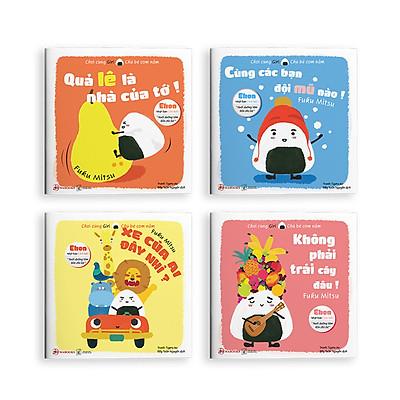 Combo 4 cuốn truyện tranh Ehon Nhật Bản - Chơi Cùng Giri -Chú Bé Cơm Nắm Phần 1 (Quả lê là nhà của tớ, Cùng các bạn đội mũ nào, Xe của ai đây nhỉ, Không phải trái cây đâu) - Dành cho trẻ từ 0 - 6 tuổi