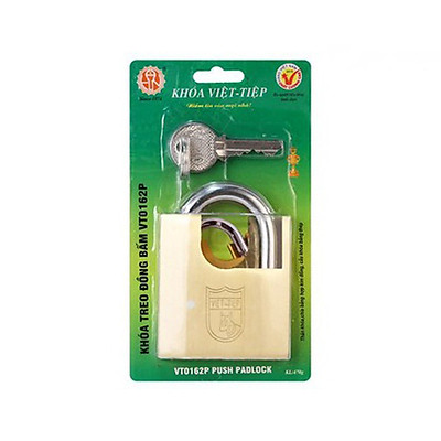 Ổ khóa cửa treo Việt Tiệp đồng bấm chống cắt 84 x 62mm ống phi 10mm cao cấp - VT0162P