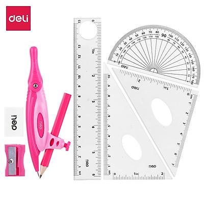 Bộ compa Deli, hồng/xanh dương, gồm 8 dụng cụ/bộ - EG30204