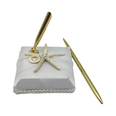 """Wedding Signing Pen with """"Starfish"""" Pattern Holder Wedding Signature Pen Set Decoration Supplies for Guest Book"""