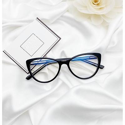 Kính Mắt mèo gọng cốt kim loại cao cấp tròng kính chống ánh sáng xanh UV + tặng tuavit Kính xinh mini