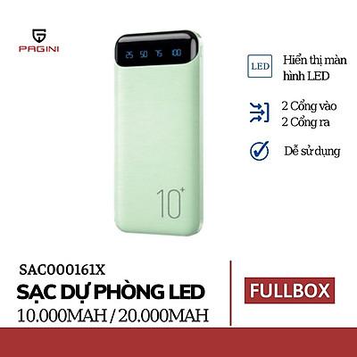 Pin sạc dự phòng 10000mAh WP161 Pagini màn hình Led hiển thị các thông số dung lượng pin cực hiện đại – Chế độ sạc kép, có thể sạc cùng lúc 2 điện thoại – Hàng nhập khẩu