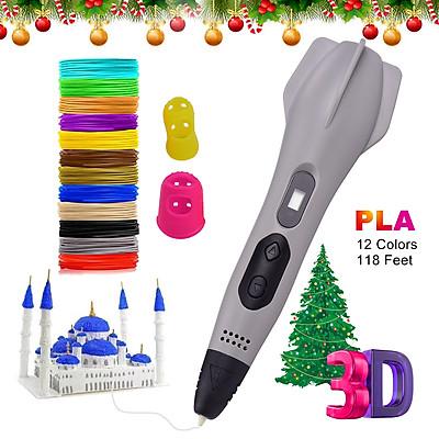 Professional 3D Pen with 12 Colors (118 Feet) 1.75mm PLA Filament Refills LCD Screen 3D Printing Pen Non-Clogging 3D