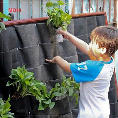 Túi vải trồng cây treo tường/túi vải trồng cây trong nhà 21 ngăn - Chính hãng
