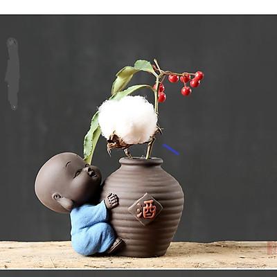 Tượng Chú Tiểu Và Chậu Gốm Cấm Hoa Tửu Cát Phong_Tặng kèm móc khóa mèo con ngồi hộp
