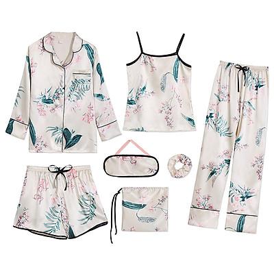 Bộ đồ ngủ, đồ mặc nhà Pyjamas vải lụa cao cấp set 7 món nhiều cách phối với họa tiết lá cây phong cách Hàn Quốc - Chiara