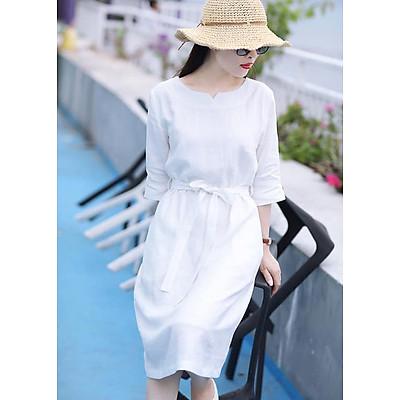 Đầm suông tay lỡ màu trắng đai rời LAHstore, chất thô đũi mềm mát, thời trang phong cách Hàn Quốc