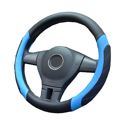 Car Steering Wheel Cover Soft Leather Grip Steering Wheel Non-Slip Cover Universal Fit For Truck, SUV, Cars (Black with