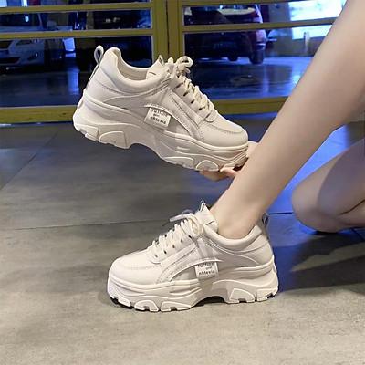 Giầy thể thao nữ,sneakers ULzzang full trắng độn đế năng động và cá tính