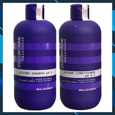 ELGON Silver Colorcare Italy 300mlx2 - Bộ dầu gội xả khử ánh sắc vàng cho tóc highlight trắng xám bạch kim
