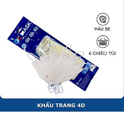 Khẩu Trang Y Tế 4D Ok Mask Màu Kem, Theo Thiết Kế Kf94, Đạt Chuẩn Kháng Khuẩn, Công Nghệ Nhật Bản (6 Chiếc/Túi)