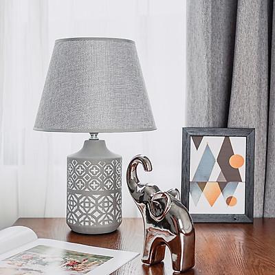 Đèn ngủ gốm vintage màu xám trắng hoa văn DS-TL9613