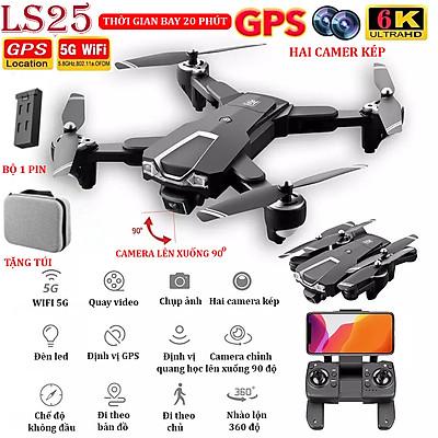 (BỘ 2 PIN) - TẶNG TÚI ĐỰNG - Flycam mini 6K, Flycam LSRC LS25 Camera 6K, Định vị GPS - WIFI 5G truyền ảnh trực tiếp về điện thoại, thời gian bay 20 phút,chế độ bay không đầu - nhào lộn 360° độ -camera lên xuống 90°