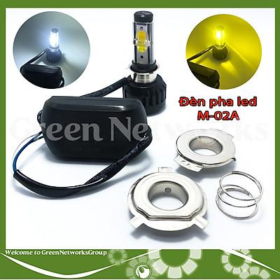 Đèn pha led xe máy M-02A 30W chân H4 M5 ánh sáng trắng vàng Green Networks Group ( 1 Đèn )