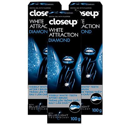 Combo 3 Kem đánh răng dạng GEL Close up Trắng răng Diamond Attraction 100g cho răng trắng ngay sau 1 lần chải