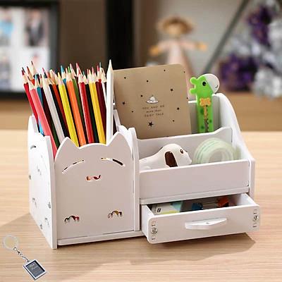 Hộp bút để bàn, hộp viết gỗ HV09 - Tặng 1 móc khóa khung hình thời trang