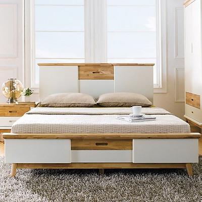 Giường Đôi Vivid Gỗ Tự Nhiên Ibie BBDVIVR - Trắng