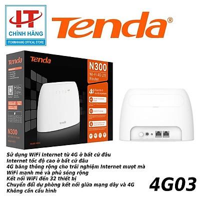 Bộ Phát Wifi 4G LTE Tenda 4G03 Có Cổng Lan Chuẩn N300 - Hàng Chính Hãng