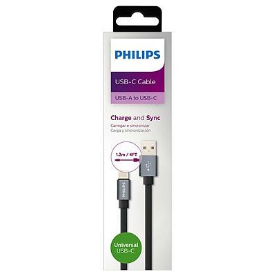 Cáp sạc nhanh cổng typeC Philips DLC2528F dài 1.2m hỗ trợ sạc nhanh Quick Charge - dây dẹp đàn hồi cực tốt (đen) Hàng Chính Hãng