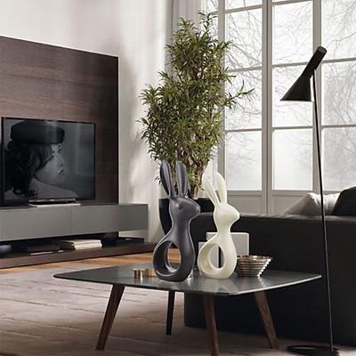 Combo Tượng trang trí nghệ thuật đôi thỏ sứ xám đen và trắng ngà nội thất sang trọng