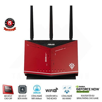 Router Wifi ASUS RT-AX86U ZAKU II EDITION Hai Băng Tần, Chuẩn AX5700 (Chuyên Cho Game Di Động)- Hàng Chính Hãng