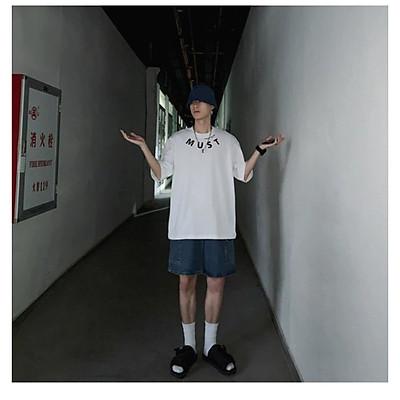 Áo thun Tay lỡ Nam Nữ Form Rộng In decal M.U.S.T màu trắng Trùm Unisex vải cotton thích hợp đi chơi