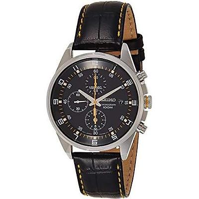 Seiko - SNDC89P2 - Men's Watch - Quartz Chronograph - Black Dial - Black Leather Strap