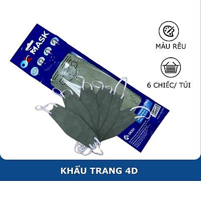 Khẩu Trang Y Tế 4D Ok Mask Màu Xanh Lá, Theo Thiết Kế Kf94, Đạt Chuẩn Kháng Khuẩn, Công Nghệ Nhật Bản (6 Chiếc/Túi)