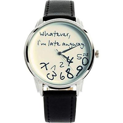 """Whatever, I'm late anyway"" Print Leather Women Men Silver Quartz Watch Black w/White"