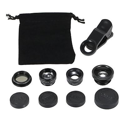 Ống kính điện thoại di động đa năng 5 trong 1 mắt cá góc rộng Macro 2X có bộ chuyển đổi từ xa
