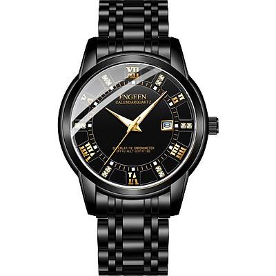 Đồng hồ nam FNGEEN FG20881 mặt đính đá lịch ngày sang trọng dây thé không gỉ cao cấp