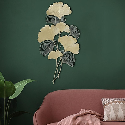 Iron Wall Hanging Pendant for Living Room Metal Background Ginkgo Leaf Shape Decoration