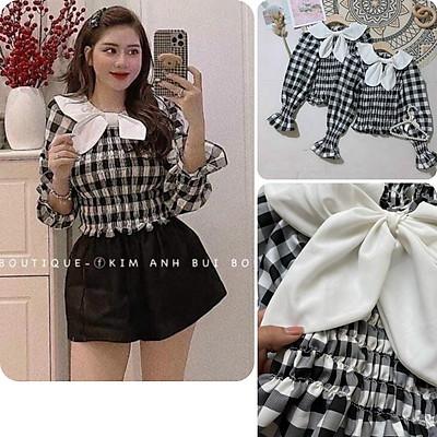 Áo kiểu nữ, áo nữ caro đen trắng phối nơ sọc caro đủ size S M L A-18