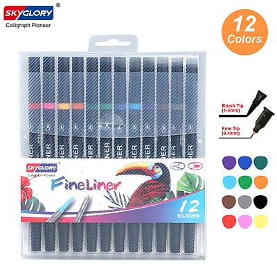 Bộ bút màu 2 đầu gồm đầu bút lông và bút viết SKYGLORY với đường kính 0.4mm